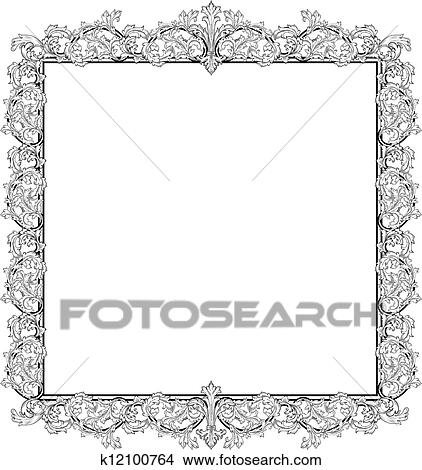 Clipart of Vintage frame in style baroque k12100764 - Search Clip ...