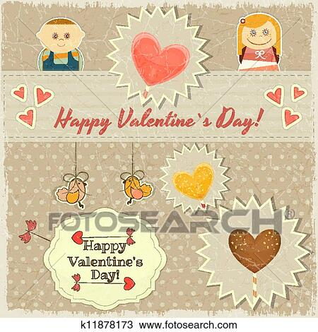 Clipart Of Vintage Valentines Day Card With Sweet Hearts K11878173