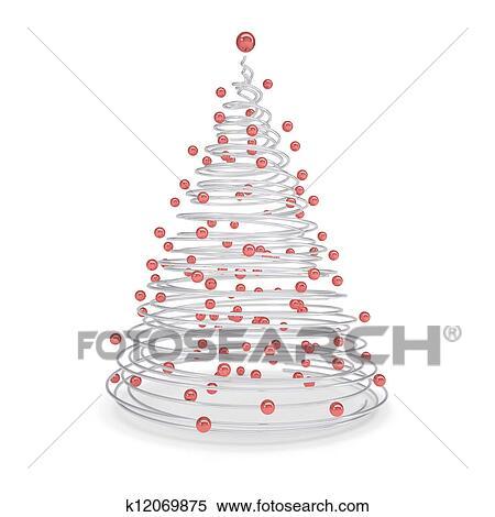 Weihnachtsbaum Metall Spirale.Weihnachtsbaum Gemacht Of Metall Spiralen Und Rot Kugeln Stock Illustration