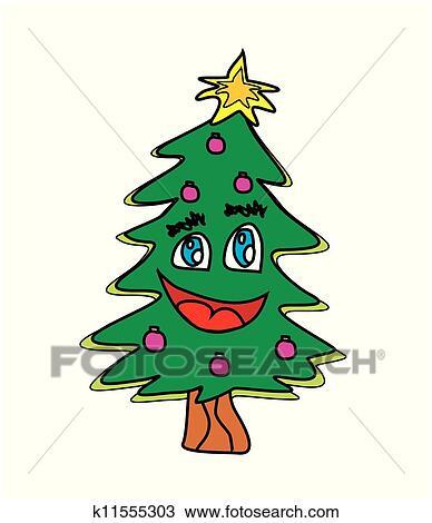 weihnachtsbaum karikatur zeichen clipart k11555303. Black Bedroom Furniture Sets. Home Design Ideas