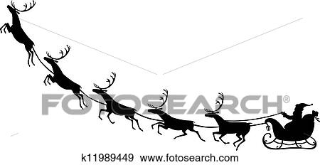 Clip Art Weihnachtsmann Reiten Auf A Rentier Schlitten