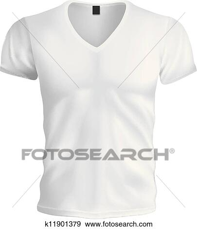 Clip Art of White Vneck Tshirt Template k11901379 - Search Clipart ...