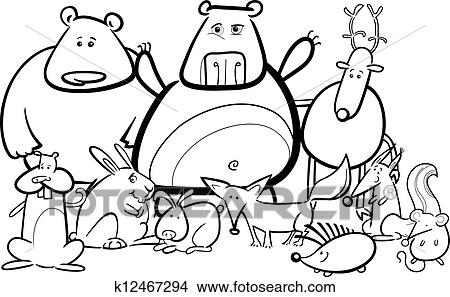 Black And White Cartoon Illustration Of Funny Forest Wild Animals Like Bears Hedgehog Deer Hare Fox For Coloring Book