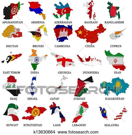 desenhos ásia países bandeira mapas parte 1 k13630664 busca