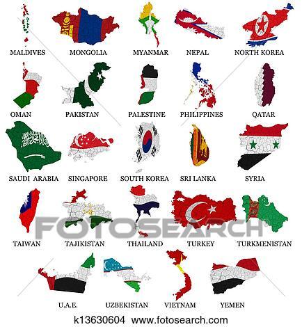 desenhos ásia países bandeira mapas parte 2 k13630604 busca