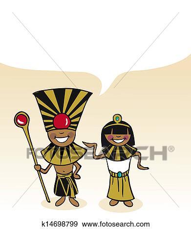 égyptien Dessin Animé Couple Bulle Dialogue Clipart
