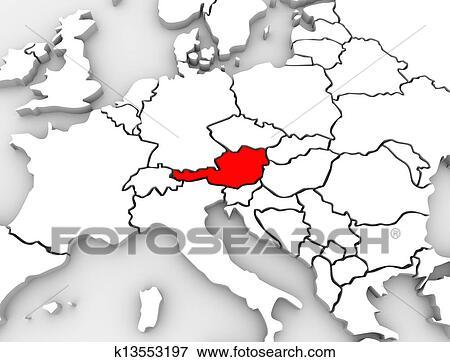 3d Karte Osterreich.Osterreich Land Abstrakt 3d Landkarte Europa Kontinent Stock Illustration