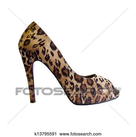 9ff62f5dd08 Γυναίκα, τακούνι, παπούτσι, γινώμενος, με, λεοπάρδαλη αποφλοιώνω, αναλήψεις