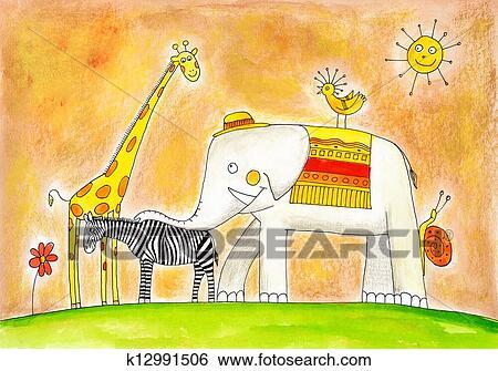 المجموعة الحيوانات رسم الطفل لوحة التلوين بالماء عن ورق معرض