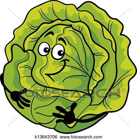 かわいい キャベツ 野菜 漫画 イラスト クリップアート K13643706