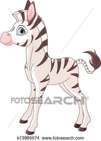 かわいい シマウマ 子馬 クリップアート切り張りイラスト絵画