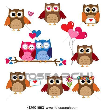 かわいい フクロウ ために バレンタイン 日 クリップアート 切り張り イラスト 絵画 集 K Fotosearch