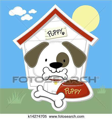 クリップアート切り張りイラスト絵画集 かわいい 子犬
