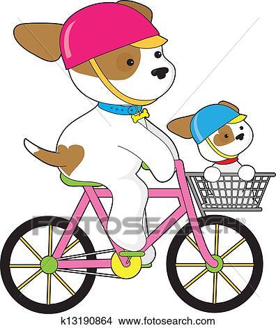 かわいい 子犬 上に 自転車 クリップアート切り張りイラスト