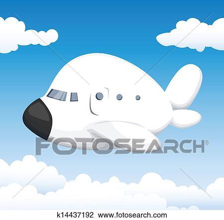 かわいい 漫画 飛行機 クリップアート切り張りイラスト絵画集