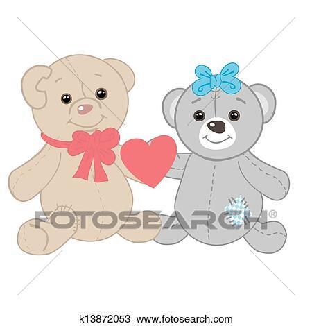 かわいい 熊 カップル バレンタイン カード クリップアート切り