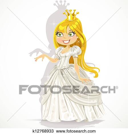 かわいい 王女 中に A 白いドレス クリップアート切り張り