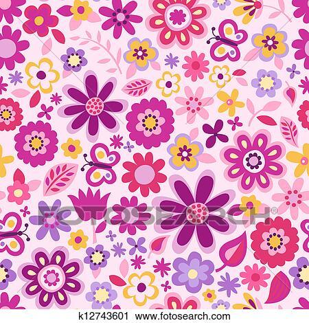 かわいい 花 Seamless 背景 クリップアート切り張りイラスト
