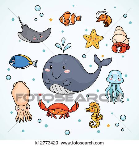 かわいい Sealife クリップアート切り張りイラスト絵画集