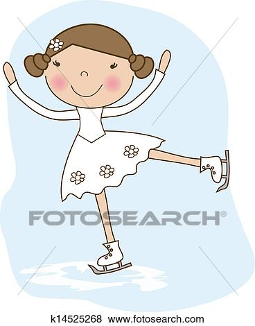 わずかしか スケーター 女の子 スケート 上に 氷 クリップアート