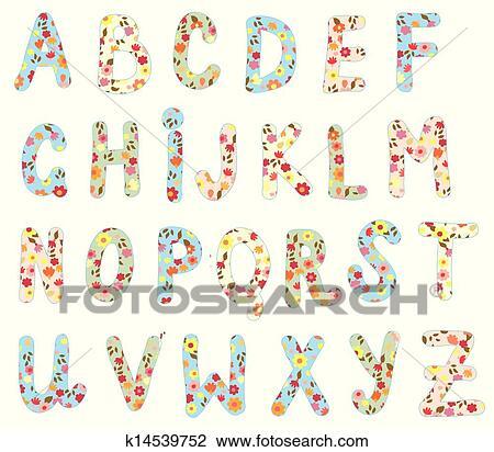 アルファベット 花 セット かわいい デザイン クリップアート