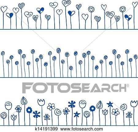 イラスト の 心 そして 花 ライン Seamless パターン クリップ