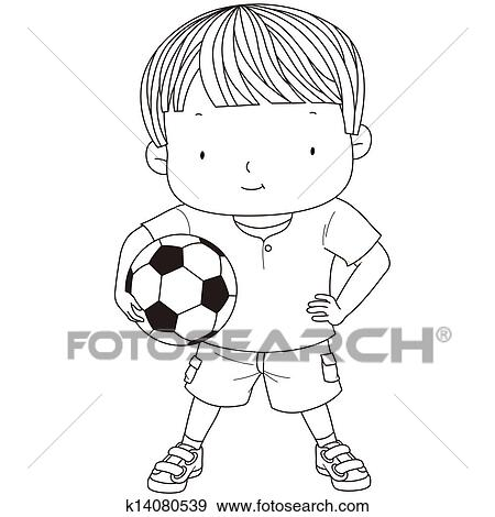 イラスト の A かわいい 男の子 ある 保有物 A フットボール