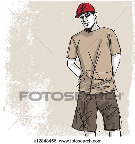 スケッチ の ファッション ハンサム Man ベクトル イラスト