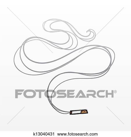 タバコ 煙 クリップアート切り張りイラスト絵画集 K13040431