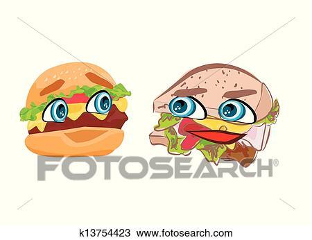 ハンバーガー で かわいい 顔 クリップアート切り張り