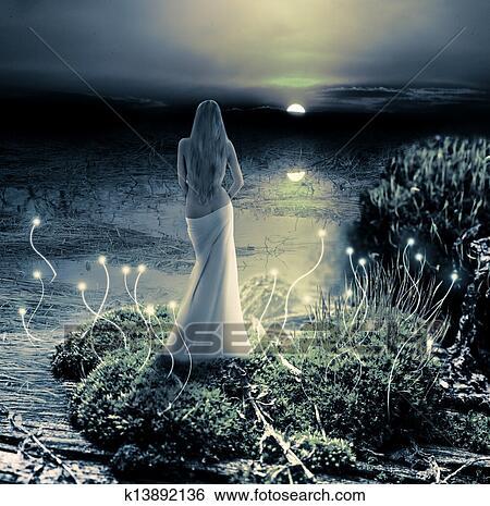ファンタジー マジック World 妖精 そして 日没 イラスト