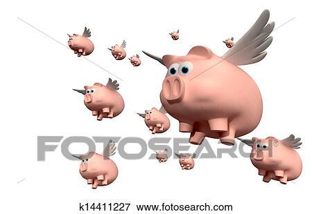 ブタが飛ぶ時 グループ イラスト K14411227 Fotosearch