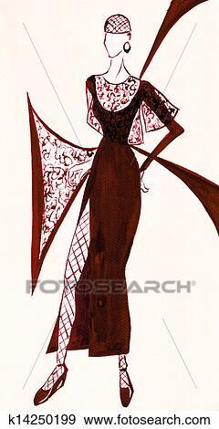 ブラウン イブニングドレス で 大きい スリット イラスト