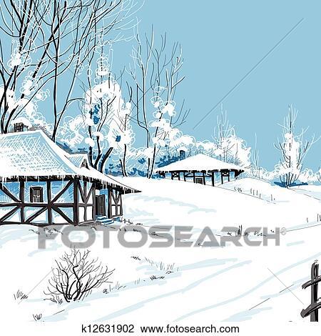 冬 雪が多い 風景 ベクトル イラスト クリップアート切り張り