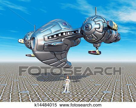 外国人 宇宙船 イラスト K14484015 Fotosearch