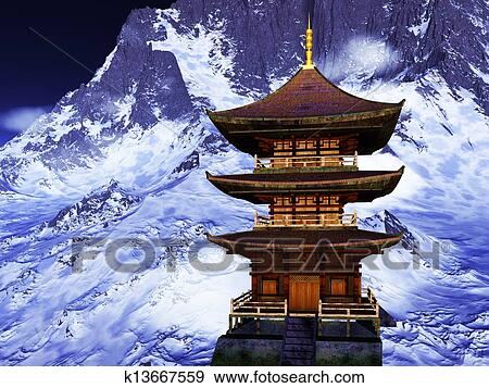 イラスト - 太陽, 寺院, -, 仏教...
