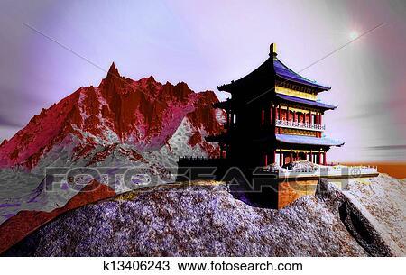 スケッチ - 太陽, 寺院, -, 仏教...