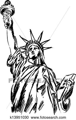 自由の女神 イラスト クリップアート切り張りイラスト絵画集