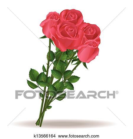 花束 の 美しい 赤いバラ クリップアート切り張りイラスト絵画