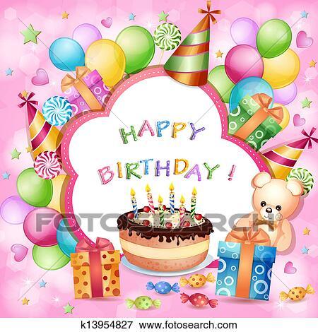 誕生日カード クリップアート K13954827 Fotosearch