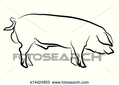 豚 シルエット 隔離された 白 クリップアート切り張りイラスト