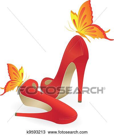 赤い靴 高かかとで蹴られる クリップアート切り張りイラスト絵画
