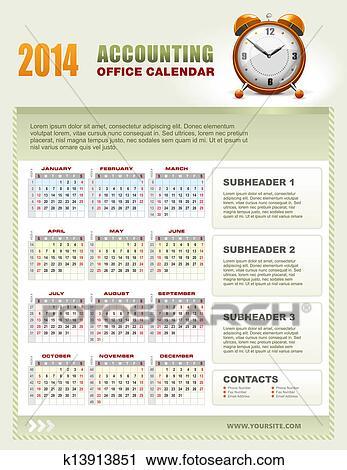 Calendario Con Numero Settimane.2014 Contabilita Calendario Con Settimana Numeri Vettore Clipart