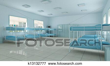 Stock Illustration   3d Bedroom, Youth Hostel Dorm Room. Fotosearch    Search EPS Clipart