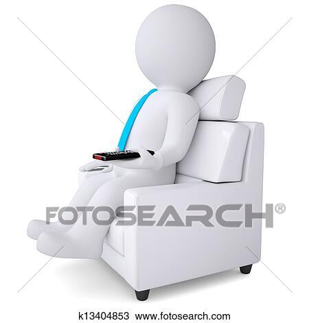 çizim 3d Beyaz Oturan Adam Sandalye Ile Kumanda K13404853