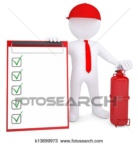 Drawing of 3d man with fire extinguisher and checklist k13699973 3d man with a fire extinguisher and checklist 3d render isolated on white background thecheapjerseys Images