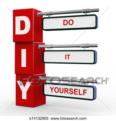 Stock illustration of 3d modern signboard of diy k14132905 search 3d illustration of modern roadsign cubes signpost of diy do it yourself solutioingenieria Image collections