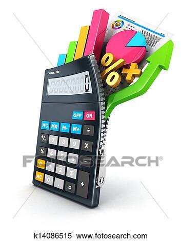 3d Ouvert Calculatrice Banque D Illustrations K14086515 Fotosearch
