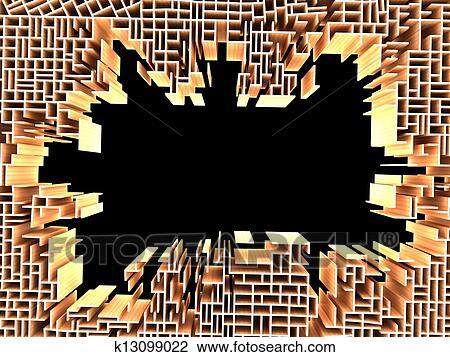 3d Render De Mur Casse Dessin K13099022 Fotosearch