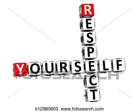 3d Respect Vous Même Mots Croisés Blanc Fond Dessin